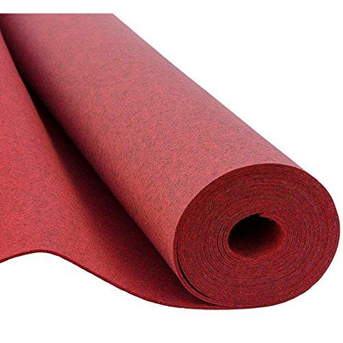 SOFT Filz, Filzstoff, Dekorationsfilz, Weicher Filz, Breite 150cm, Dicke 3mm, Meterware 0,5lfm - melange rot