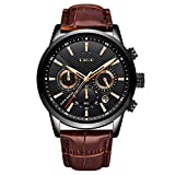 LIGE Watch Men's Fashion Waterproof Sports Chronograph Analogue Quartz Stainless Steel Leisure Business Leather Bracelet Black Dial Wristwatch …