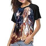 huatongxin Sword Art Online Camiseta de béisbol de Manga Corta raglán para Mujer Top