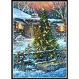 Lazodaer - Kit de taladro redondo completo con números de bordado y diamantes de imitación para el hogar, árbol de Navidad en la nieve, 30 x 39,9 cm