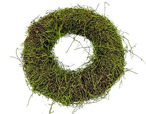 Schreiber Deko Kranz mit Moos und Clematis 1 Stück Natur-Grün Ø 25cm