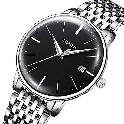 BINGER Reloj Automático Suiza Movimiento Zafiro de Japon Reloj mecánico Hombre Correa de Acero Inoxidable con Espejo Gris,Calendario 5078,B