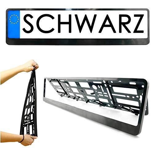 Kennzeichenhalter in Schwarz Kennzeichen Nummernschild STANDARD Größe 52cm Halter für EU KFZ-Kennzeichen einfache Montage Made in the EU