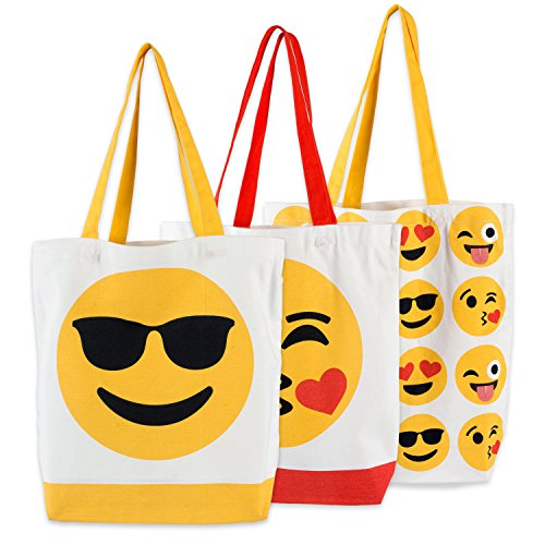 DII CAMZ37682 Cotton Heavy Duty Canvas Reusable Tote Bag, 15x15.5x4.25' Setof 3, Machine Washable Shopping Bag for Grocery, School Book and Stationary-Emoji