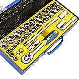 S&R Set Chiave a Bussola con Cricchetto 1/2' Inserti Brugole e Prolunghe Giravite. Set 39 pz. Cassetta Attrezzi in Metallo
