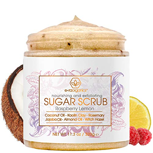 Era Organics Sugar Scrub Body Exfoliator - Spa Quality Sulfate Free Body Scrub with Food Grade Ingredients to Nourish, Moisturize & Rejuvenate Dull Dry Skin - No Harsh Chemicals, Parabens or SLS