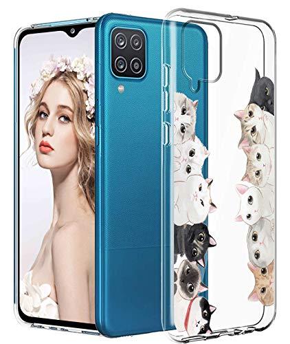 16Jessie Funda de silicona transparente compatible con Samsung Galaxy A12 5G, diseño de mármol, antigolpes, antiarañazos, transparente
