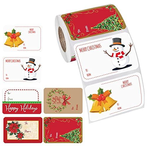 YUDIAN 500 etichette adesive natalizie autoadesive per il nome del regalo, etichette adesive per etichette natalizie, per busta, con Babbo Natale, pupazzo di neve, albero di Natale, ghirlanda regalo L