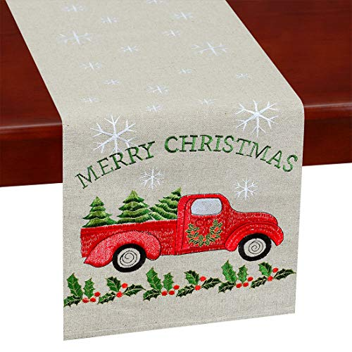 Simhomsen Embroidered Farmhouse Truck Table Runner for Christmas Holidays (Car, 13 × 70 Inches)