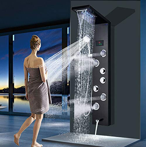 Onyzpily Schwarz Duschpaneel Edelstahl Duschsäule Duscharmatur Duschsystem Regendusche Kopfbrause Handbrause Armatur Duschset 4 x Massagedüsen