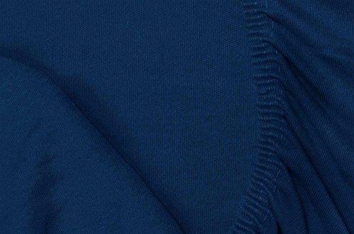 Double Jersey – Spannbettlaken 100% Baumwolle Jersey-Stretch bettlaken, Ultra Weich und Bügelfrei mit bis zu 30cm Stehghöhe, 160x200x30 Marineblau - 7