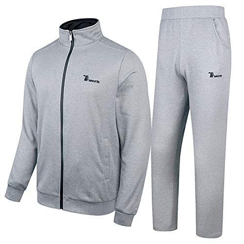 donhobo Herren Jogginganzug Trainingsanzug Sportanzug Fußball Sporthose Hoodie Hose für Gym Warm Tracksuit(01Hellgrau,XL)