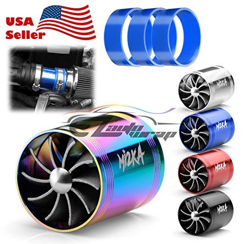 EZAUTOWRAP Mi2KA Turbine Air Intake Fuel Gas Saver Dual Fan Double Turbonator Acceleration System Turbo 2.5'-3.0' Blue
