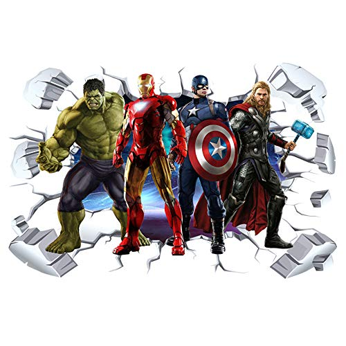ZI XIN Superhero Wall Stickers Avengers Wall Decals Excellent Vinyl Wall Decor for Boys Room Living Room (Size 35.4 x 23.6 inch)