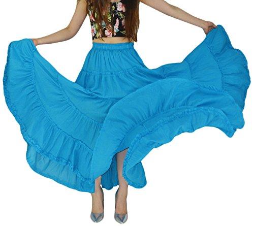 YSJERA Damen Baumwolle 5-stöckig A Linie Plissee Maxi Rock Lang Boho Zigeuner-Tanz Röcke - Blau - Einheitsgröße