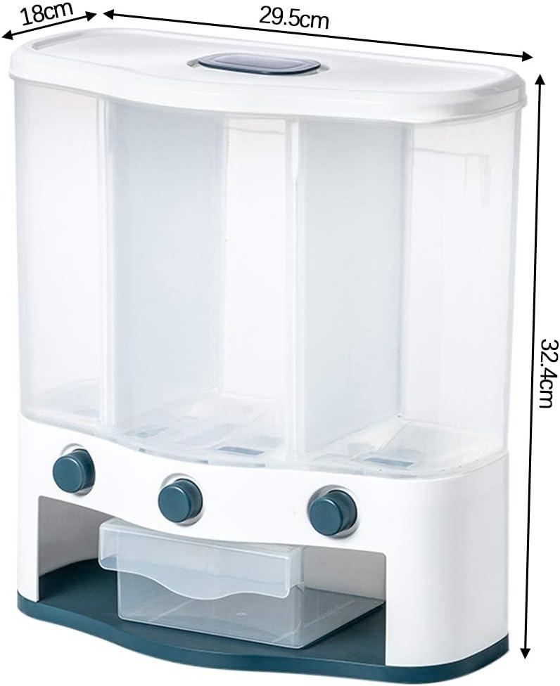 trockene Lebensmittel wandmontiert K/üche transparent Reisk/örner blau LOKOER M/üsli-Spender aus Kunststoff Aufbewahrungsbeh/älter f/ür Zuhause