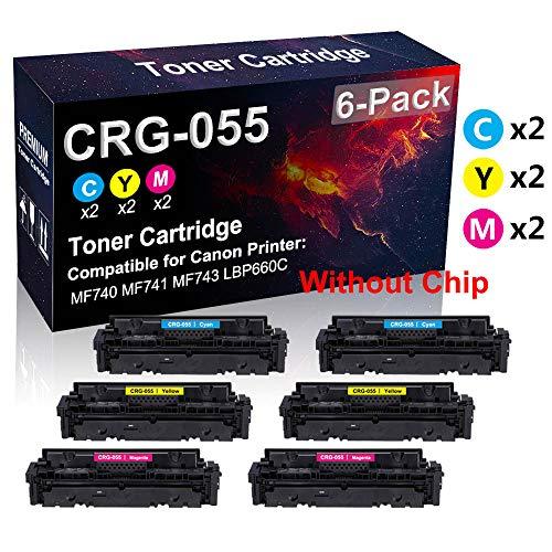 Confezione da 6 cartucce toner per stampanti laser CRG 055 (2 C+2Y+2M) compatibili con stampanti laser Canon Color Image Class MF746Cdw LBP664Cdw (alta resa, senza chip)