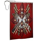 Native American Red Tribal Feather Shower Curtain Bath Curtains Set Waterproof Thick Polyester Fabric Bathroom Accessories Home Decoration with Hooks Sets 48'x72'