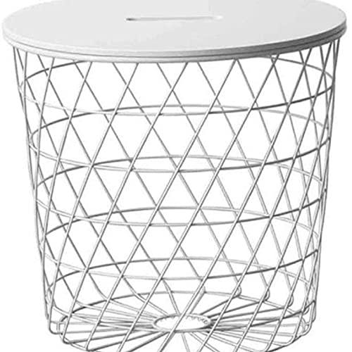 Eortzzpc Sofa Side Table, Kaffeetische Moderne Multifunktions Runde Kreative Couchtisch Home Wohnzimmer Mode Aufbewahrungskorb - Weiße und Schwarze Endtische (Farbe: weiß),End Table for Living Room