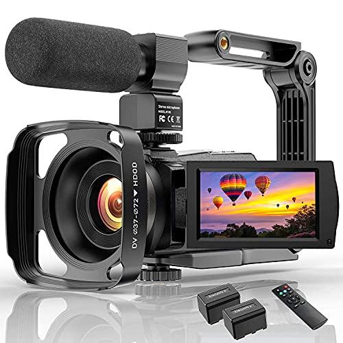 Cámara de Video Videocámara 4K WiFi 48MP IR Cámara de vlogging de visión Nocturna con micrófono Zoom Digital 16X Videocámara con Pantalla táctil giratoria de 270 ° y 3.0 Pulgadas con Control Remoto