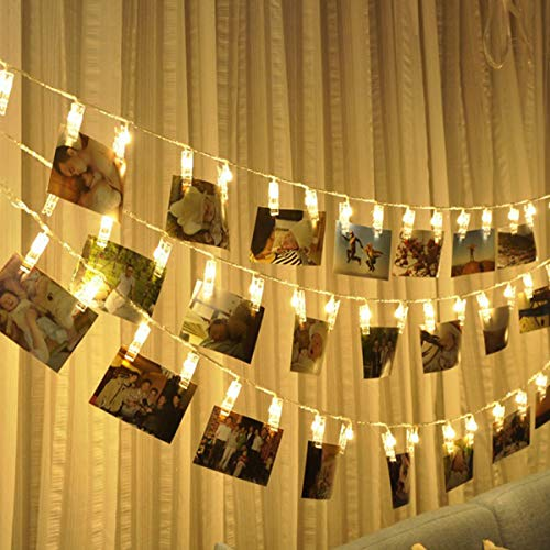 Photo Clip String Lights, Fulighture Fairy String Light, 6M/40 LED Clip Lights, Battery Powered, Copper Wire Hanging String Photo Frames Decoration for Bedroom Wedding Party Outdoor/Indoor(Warm White)