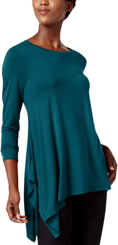 Alfani Womens Asymmetrical Hem Knit Blouse