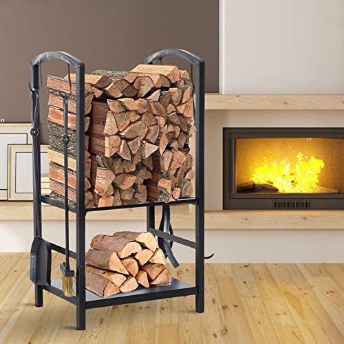 Buy Steel 2-Tier Heavy Duty Firewood Rack Indoor Outdoor Log Holder with 4 Tools
