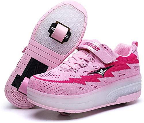 FJX LED Mode Turnschuhe Kinder Leuchten Schuhe Blink Trainer Rollschuh Schuhe Jungen Versenkbare Skateboard Schuhe,B-EU37