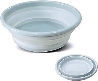 RULAYMAN 洗面器 折りたたみ 洗い桶 バケツ たらい 折りたたみ 湯おけ シリコン キッチン 洗濯 掃除 足浴 風呂 四色 用途いろいろ (ブルー, S)