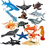 Liberty Imports Large Deep Sea Animals - Ocean Underwater Creatures - Realistic Plastic Marine Toy Figures - Educational Toys for Toddlers, Kids (16 Piece Set)