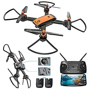 Drone with Camera, TOPVISION FPV RC Drone with WiFi 720P HD Camera & 480P Bottom Camera, Foldable Quadcopter Drone with Wide Angle Camera, Headless Mode, Altitude Hold, One Key Take off and Landing