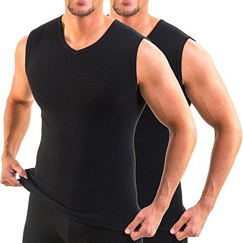 HERMKO 16050 2er Pack Herren Business Unterhemd mit V-Ausschnitt, Größe:D 6 = EU L, Farbe:schwarz
