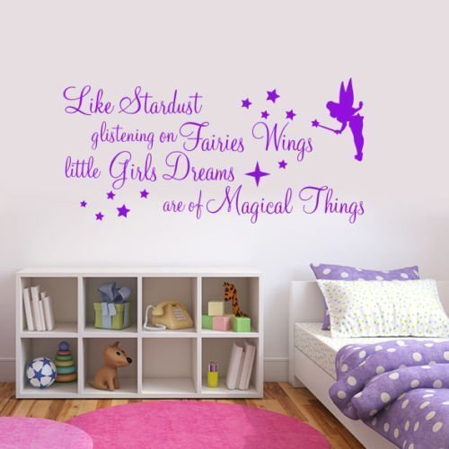 WALL ART DESIRE Autocollant Mural avec Citation Like Stardust Glistening on Fairies (Rouge)