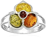 Sterling Silver Multi-Color Amber May Collection Ring, Size 9