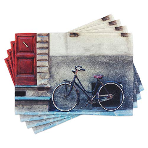 Lunarable Bicycle Place Mats Set of 4, Vintage Bicycle Leans City Walls Modern Urban Regular Transportation Vehicle Image, Washable Fabric Placemats for Dining Table, Standard Size, Eggshell