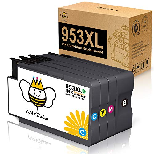 CMYBabee 953XL Cartuchos de Tinta Compatibles para HP 953XL Reemplazo para HP OfficeJet Pro 8720 7720 8710 7730 8715 7740 8718 8210 8725 8218 8728 8740 8730 (1 Negro /1 Amarillo /1 Magenta /1 Cian)