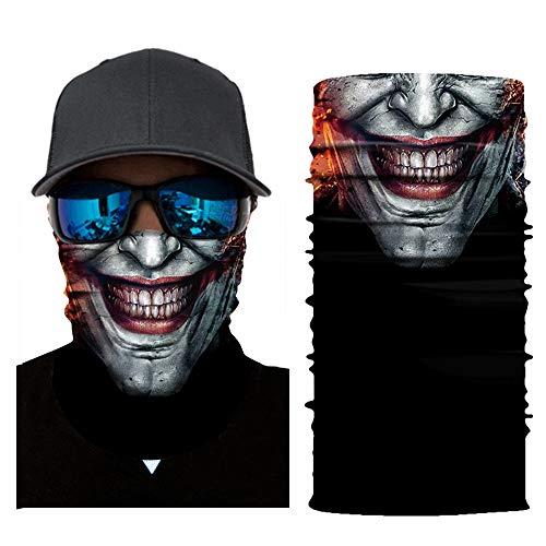 Feitb Dunkler Clown Muster Maske Hals Schlauch Ski Face Shields Schal Radfahren Motorrad Gesichtsmaske Sturmhaube Halloween Party(Angeln, Laufen, Radfahren, Motorrad, Walken, Reiten etc (B)