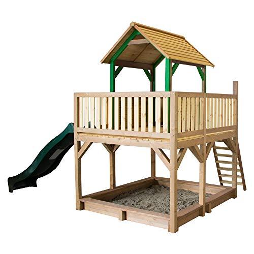 AXI Spielhaus Atka mit Sandkasten & grüner Rutsche | Stelzenhaus in Braun & Grün aus FSC Holz für Kinder | Spielturm mit Wellenrutsche für den Garten