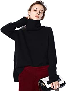 Womens Cashmere Sweater Cardigan Casual Loose Long Sleeve Knit High-Low Hem Turtle Neck Pullover