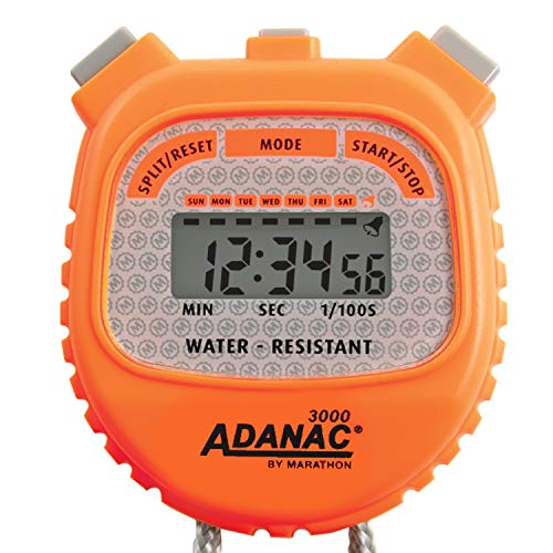 MARATHON Adanac 3000 - Cronómetro digital (resistente al agua), 1, Anaranjado Neón