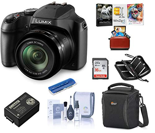 Panasonic Lumix DC-FZ80 Digital Point & Shoot Camera - Bundle with 16GB SDHC Card, Camera Bag, Cleaning Kit, Memory Wallet, Card Reader, Mac Software Package