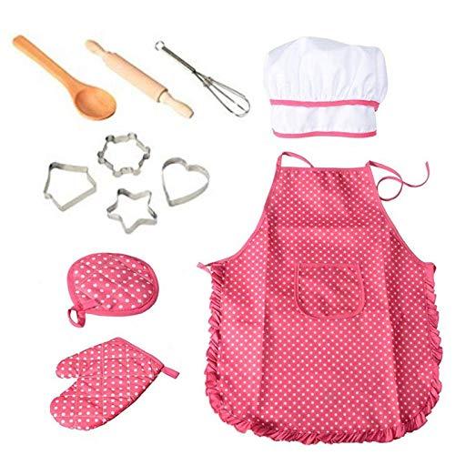 Delantal de 11/14 piezas para niñas pequeñas Juego de cocina para hornear Sombrero de chef Guante Utensilio para niños pequeños Disfraz de chef Juego de roles