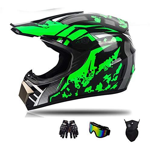 Myleisure Casco de Motocicleta, Moda Juvenil ATV Motocross Dirt Bike BMX MX Down-Will Off-Road Mountain Bike Casco Racing (Guantes, Gafas, Máscara, Conjunto de 4 Piezas),Green Black,L