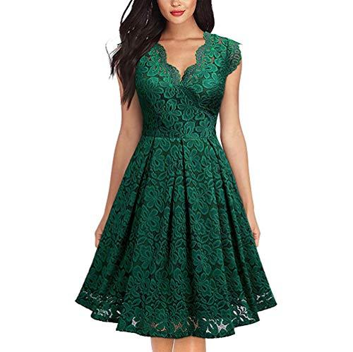 FEOYA Festliche Kleider für Damen Midi Cocktailkleid Grün Knielang Kleider Vintage Damen Rockabilly Abendkleider Elegant für Hochzeit 38-40
