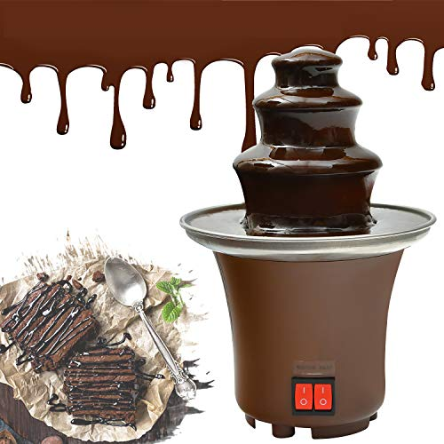 Chocolate Fountain, Machine Electirc Chocolate Pro Fondue Set, Easy To Assemble 3 Tier Stainless Steel Fondue Heat & Motor Controls, Perfect for Party Wedding, Brown