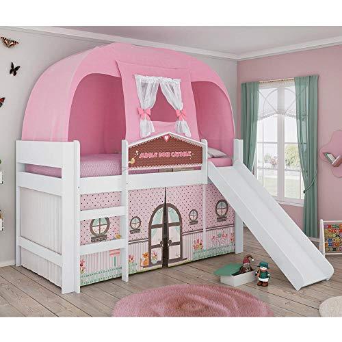 Cama Infantil Barraca com Escorregador Casinha Play Branco/Rosa - Pura Magia