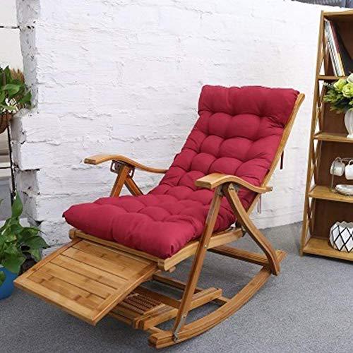 Tumbona plegable portátil para adulto, asiento plegable de gravedad cero, asiento de 0 a 170 °, bambú grueso, duradero, con carga (140 kg) y con masaje de pies, plegable, F