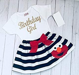 Elmo Birthday outfit, Elmo inspired black and white striped skirt and Sparkle gold Birthday girl tshirt