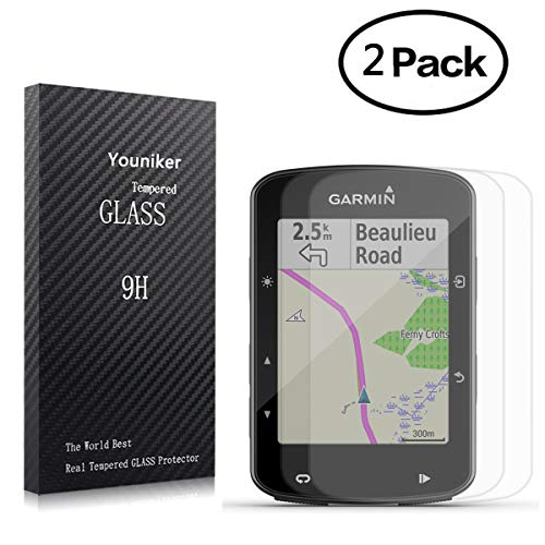 Youniker 2 Unidades Protector de Pantalla para Garmin Edge 520 Plus Cristal Vidrio Templado para Garmin Edge 520 Plus, GPS 9H Dureza Sin Burbujas