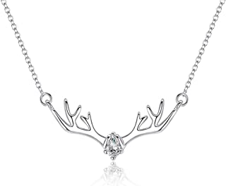 KKING Silver Plated Deer Antler Necklace Xmas Sterling Silver Fashion Women Jewelry Deer Antler Pendant Necklace for Women